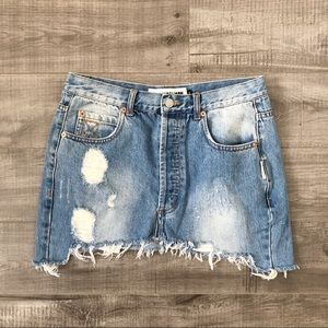 The Laundry Room blue jean distressed skirt